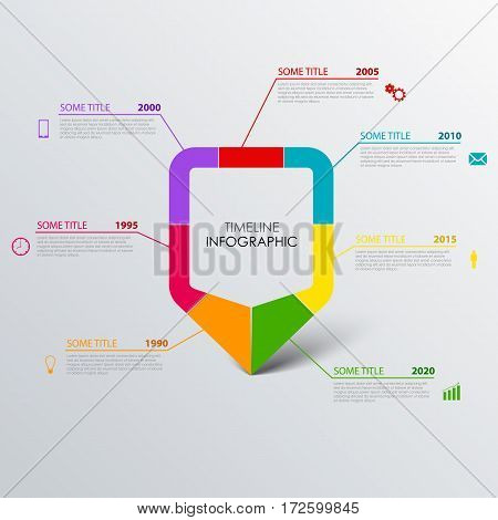 Time line info graphic with design colored pointer template vector eps 10