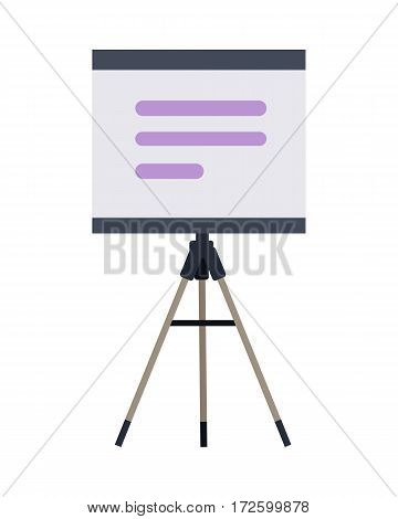 Stand with charts and parameters. Business concept of analytics. Poster banner on white. Presentation and analysis, rating and performance indicators. Roller screen. Billboard. Flip chart. Vector