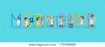 Medicine conceptual vector. Flat style. Scientist and doctor characters with lab instrument. Medical science. Modern technologies and innovations in healthcare. Illustration for company ad, web design