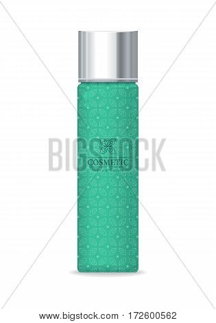 Cosmetic professional series. Green plastic tube for cosmetics on white background. Product for body, face and skin care, beauty, health, freshness, youth, hygiene. Realistic vector illustration.