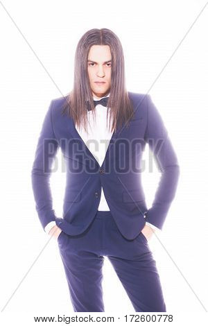 The male on light background in studio