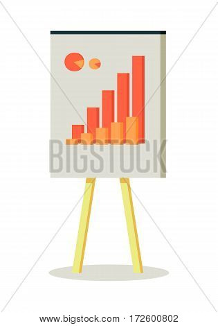 Whiteboard with infographics. Board at a presentation with diagram. On whiteboard show financial and analytical information. Isolated object in flat design on white background.