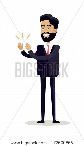 Business man with black hair and in business suit stands and applauds. Man clapping hand with happy face. Smiling young man personage in flat design isolated on white background. Vector illustration.