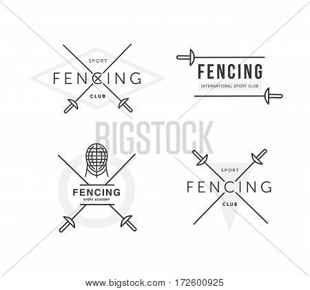 Set of Fencing sports vector logo or badge. Emblem elements. Fencing equipment - rapier, foil, mask. Sport academy.