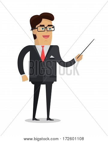 School teacher vector. Flat design. Man character in suit, tie and glasses standing with pointer. Lecturer, professor, instructor, businessman illustration for educational concepts, courses, trainings ad