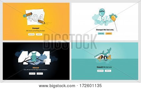 Set of flat design 404 error page templates. Vector concept illustrations of page not found for website design and development.