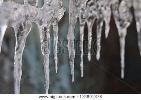 The transparent icicles, frozen water, cold winter,