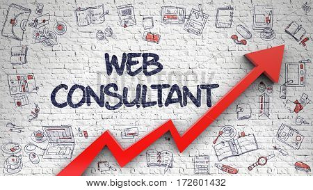 Web Consultant Inscription on the Modern Style Illustration. with Red Arrow and Hand Drawn Icons Around. Web Consultant - Development Concept with Doodle Icons Around on Brick Wall Background.