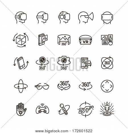 Set of virtual reality icons black think line style for your app design project isolated on white background. 360 Degree, Panorama, Virtual Reality Helmet icon. Vector IIlustration