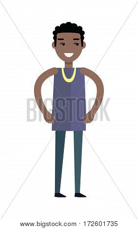 Handsome black man with cheerful attitude. Man in purple T-shirt and blue pants. Smiling young man personage in flat design isolated on white background. Vector illustration.
