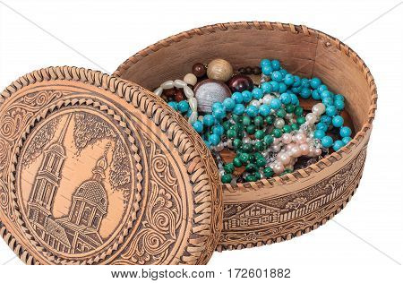 Berestovaya Open box with beads of semi-precious stones