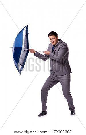 Businessman with umbrella isolated on white background