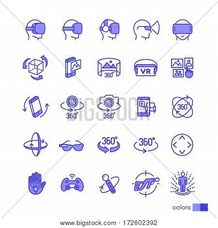 Set of virtual reality icons color style for your app design project isolated on white background. 360 Degree, Panorama, Virtual Reality Helmet icon. Vector IIlustration