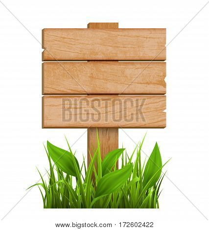Wooden Signpost with Grass Isolated on White Background