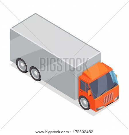 Truck isometric projection icon. Lorry with container vector illustration isolated on white background. Cargo transportations. For game environment, transport infographics, logo, web design