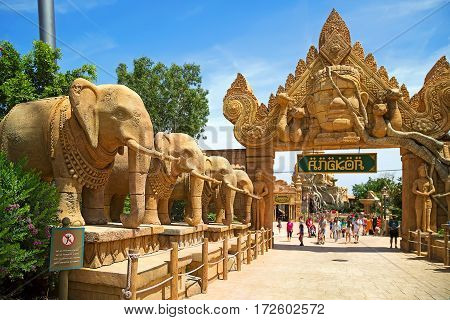 PORT AVENTURA/ SPAIN - MAY 11. Entrance gate to the attraction Angkor located in the China area in the theme park Port Aventura on May 11, 2015 in city Salou, Catalonia, Spain.