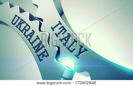 Italy Ukraine on the Shiny Metal Gears, Business Illustration with Lens Effect. Italy Ukraine on the Mechanism of Metal Cog Gears. Enterprises Concept in Technical Design. 3D.