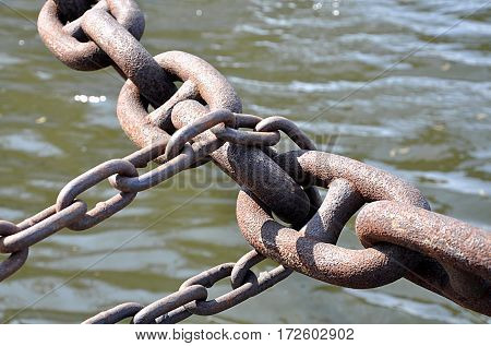 Detailed view of a metal chain at the harbor