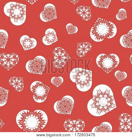 White Hearts Seamless Pattern. Valentines Day Background. Symbol of Love