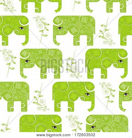 Seamless pattern with green painted elephants for Indian Festival of Colours. Vector illustration