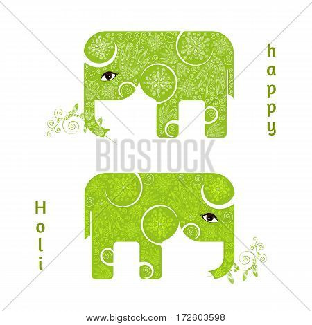Abstract Happy Holi poster with two green elephants. Design for Indian Festival of Colours. Vector illustration