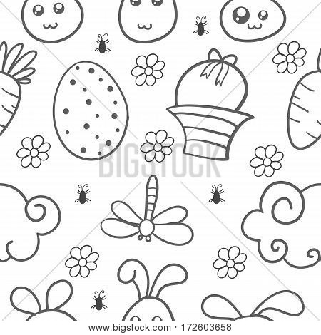 Happy easter style doodles hand draw illustration