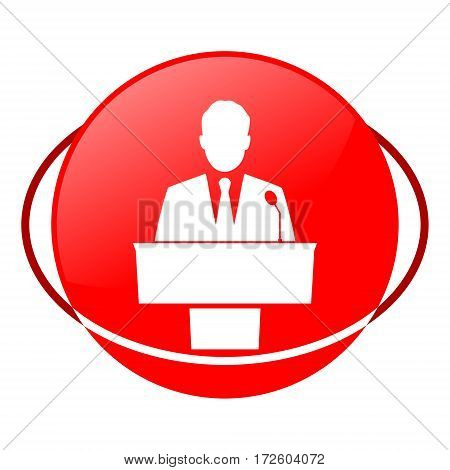 Red icon, speaker vector illustration on white background