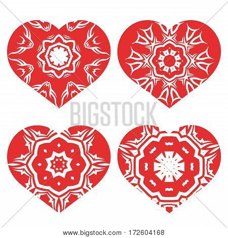 Romantic Red Heart Set Isolated on White Background.  Image Suitable for Laser Cutting. Symbol of Valentines Day.