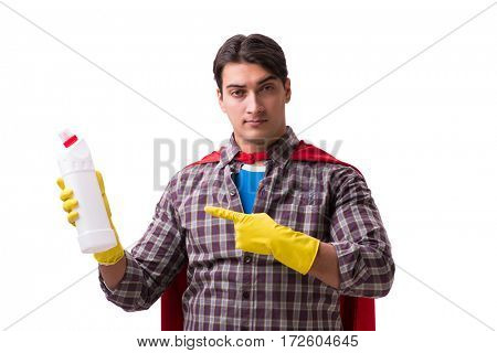 Super hero cleaner isolated on white