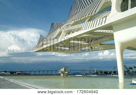 Rio de Janeiro Brazil February 18 2016 - Tomorrow's Museum designed by Spanish architect Santiago Calatrava was inaugurated by Brazilian President Dilma Rousseff as part of a revitalization program for the Rio 2016 Olympic Games