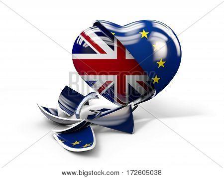 3d Illustration of UK Brexit, European Union broken