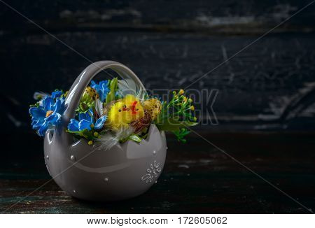 Easter Composition, Quail Eggs On The Old Wooden Background.