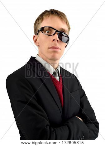 Freaky yet good-looking guy glaring through broken sunglasses useable for many humorous concepts isolated on white