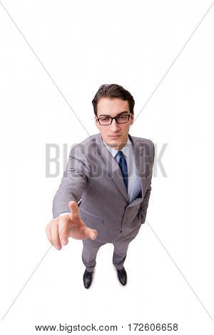Funny businessman pressing virtual buttons isolated on white