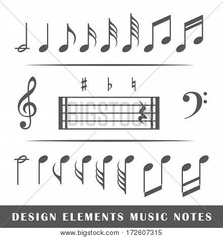 Set of musical notes isolated on white background. Design elements. Vector illustration