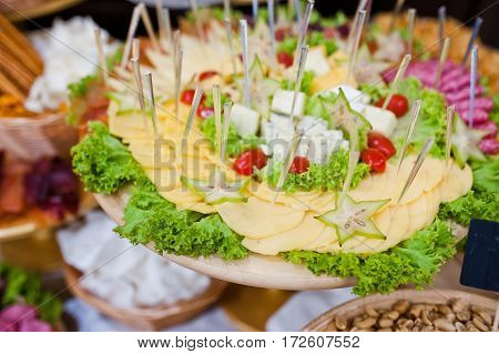 Diferrent Cheese, Meat And Salads On Wedding Reception.