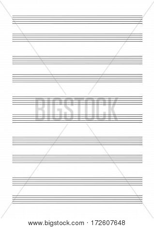 Note paper for musical notes isolated on a white background. Vector Illustration