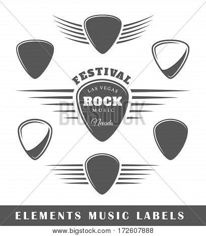 Templates for music labels isolated on white background. Vector illustration