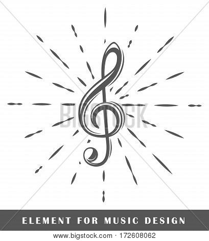 Treble clef isolated on white background. Design element. Vector illustration