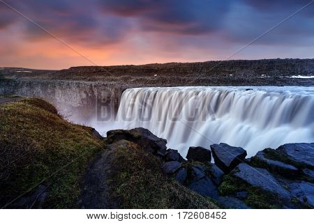 Dettifoss - most powerful waterfall in Europe. Jokulsargljufur National Park, Iceland.