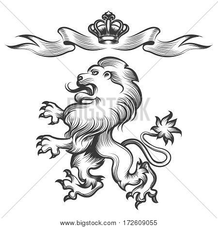 Vector hand drawn heraldic lion sketch with crown isolated on white background