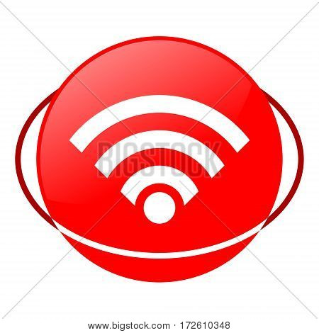 Red icon, wifi vector illustration on white background