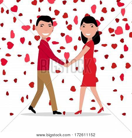 Vector illustration cartoon love couple on background falling red hearts. Flat style. Man and woman holding hands. Family celebrates the holiday. Valentine Day.