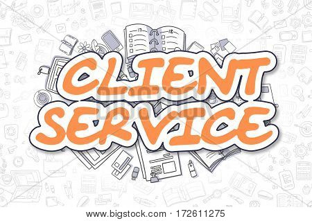 Cartoon Illustration of Client Service, Surrounded by Stationery. Business Concept for Web Banners, Printed Materials.
