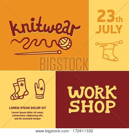Knitwear workshop. Poster template for a knitting skills development workshop in vector. Vintage label for handmade session