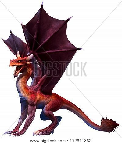 A red dragon  with wings spread 3D illustration