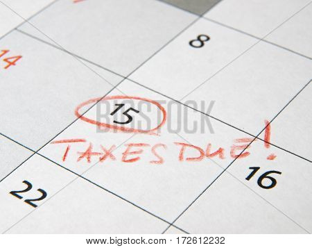 Taxes due deadline reminder at calendar date 15