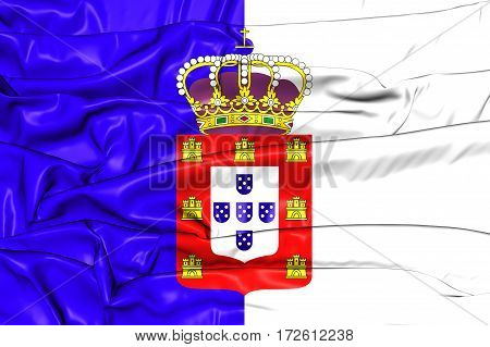 3D Flag Of The Portugal (1830-1910). 3D Illustration.