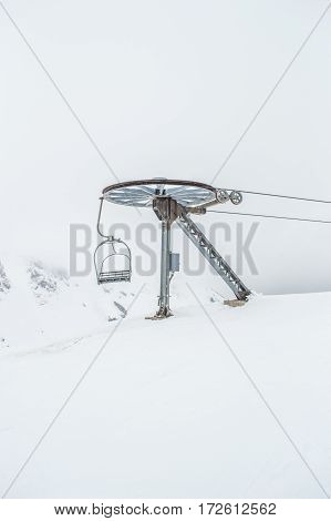 Cable car machinery and snow in Montenegro