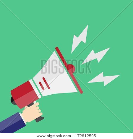 Speaker in hand, speaker, megaphone. Flat design vector illustration vector